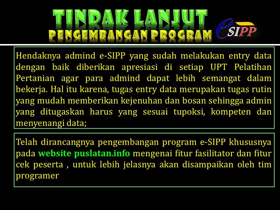 Tindak lanjut Pengembangan program