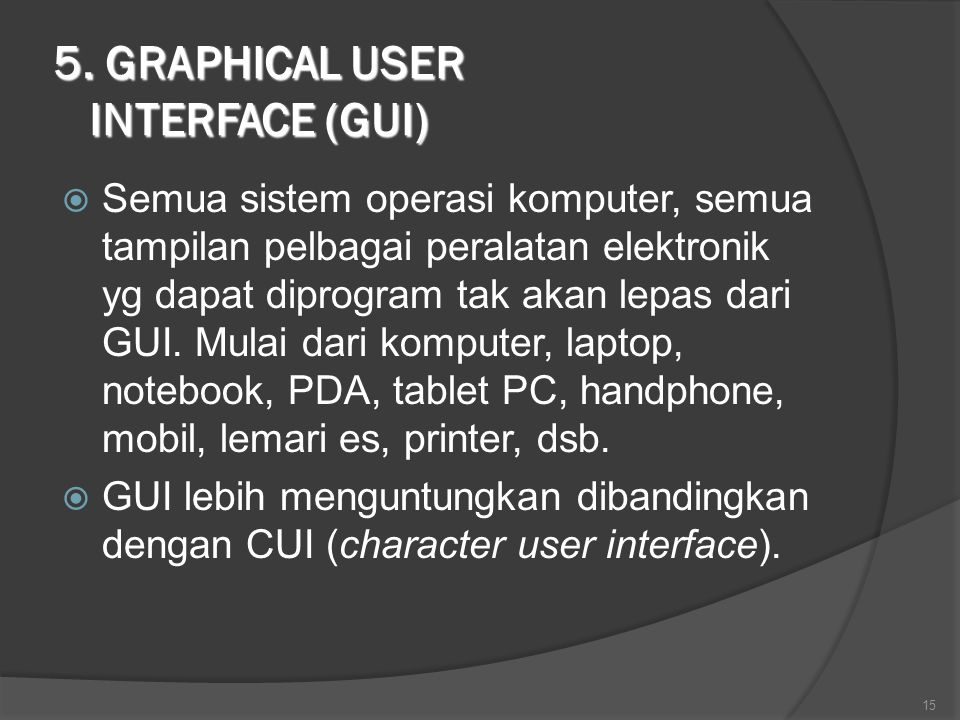5. GRAPHICAL USER INTERFACE (GUI)
