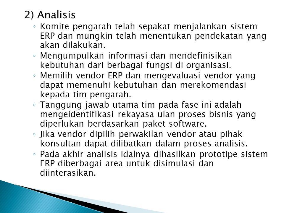 2) Analisis Komite pengarah telah sepakat menjalankan sistem ERP dan mungkin telah menentukan pendekatan yang akan dilakukan.