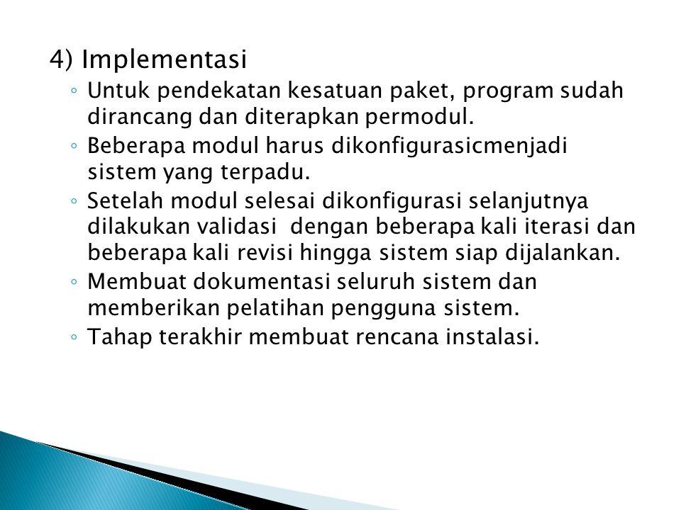4) Implementasi Untuk pendekatan kesatuan paket, program sudah dirancang dan diterapkan permodul.