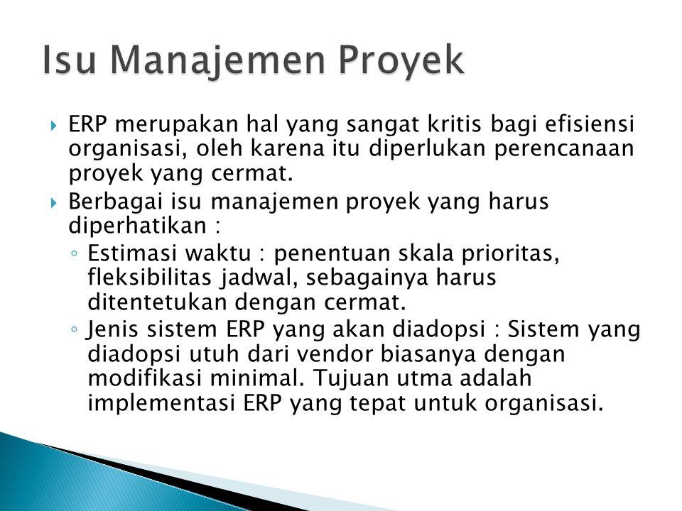 Isu Manajemen Proyek ERP merupakan hal yang sangat kritis bagi efisiensi organisasi, oleh karena itu diperlukan perencanaan proyek yang cermat.
