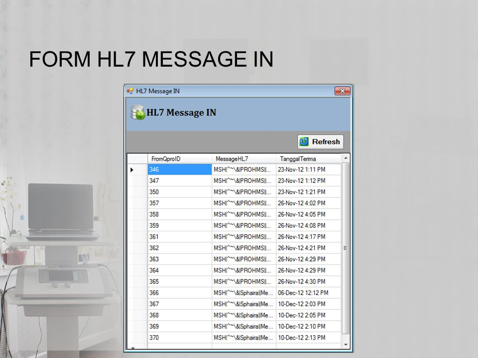 FORM HL7 MESSAGE IN