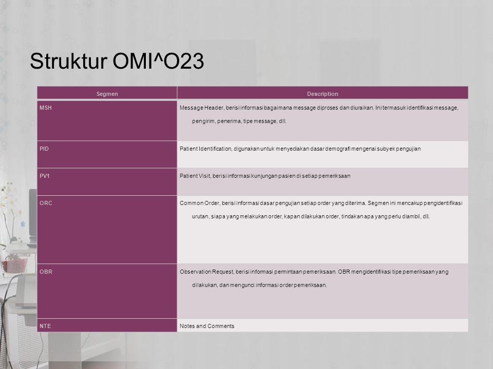 Struktur OMI^O23 Segmen Description MSH