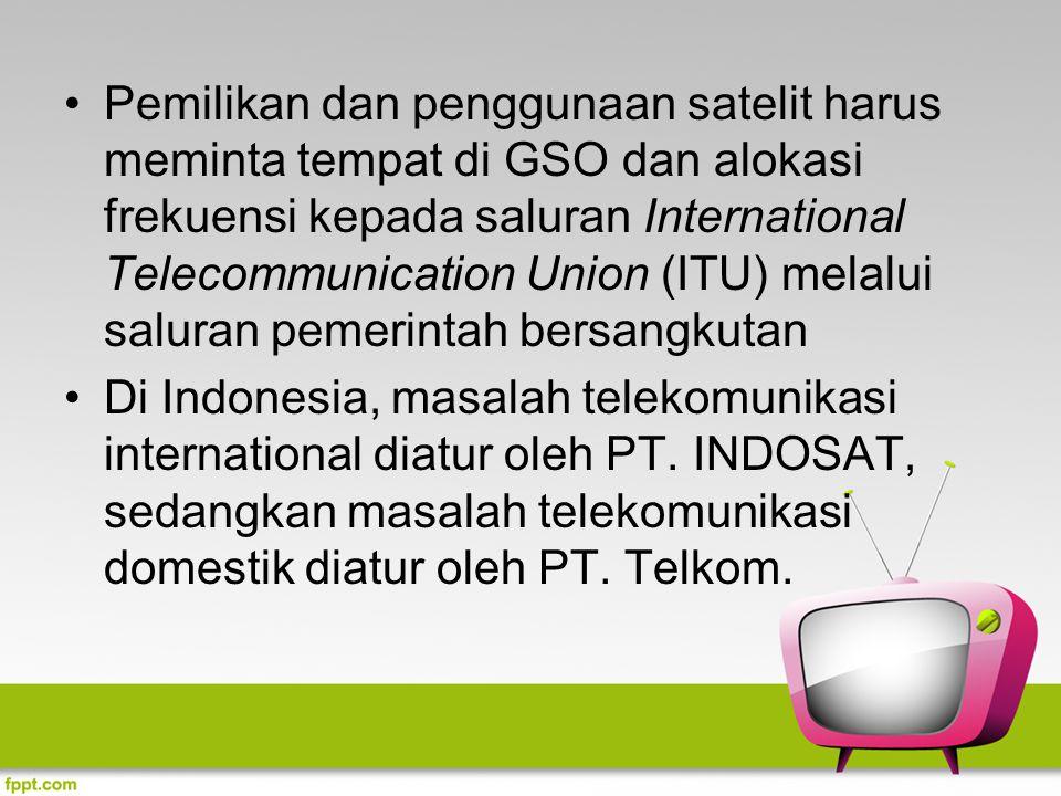 Pemilikan dan penggunaan satelit harus meminta tempat di GSO dan alokasi frekuensi kepada saluran International Telecommunication Union (ITU) melalui saluran pemerintah bersangkutan