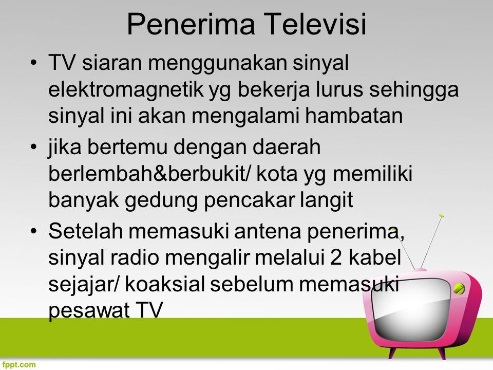 Penerima Televisi TV siaran menggunakan sinyal elektromagnetik yg bekerja lurus sehingga sinyal ini akan mengalami hambatan.