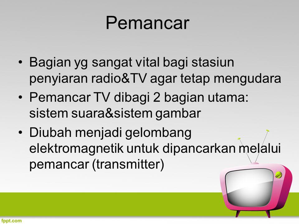 Pemancar Bagian yg sangat vital bagi stasiun penyiaran radio&TV agar tetap mengudara. Pemancar TV dibagi 2 bagian utama: sistem suara&sistem gambar.