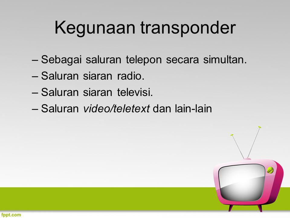 Kegunaan transponder Sebagai saluran telepon secara simultan.