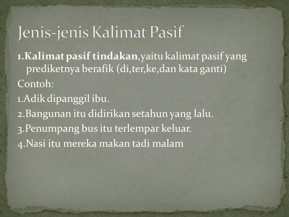 Jenis-jenis Kalimat Pasif