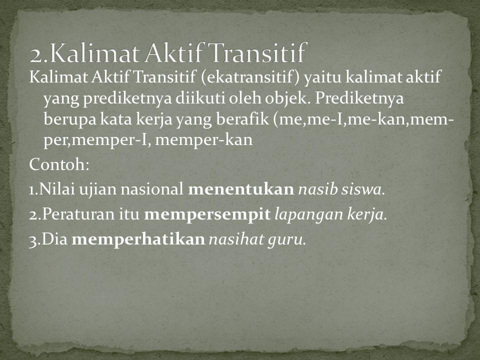 2.Kalimat Aktif Transitif