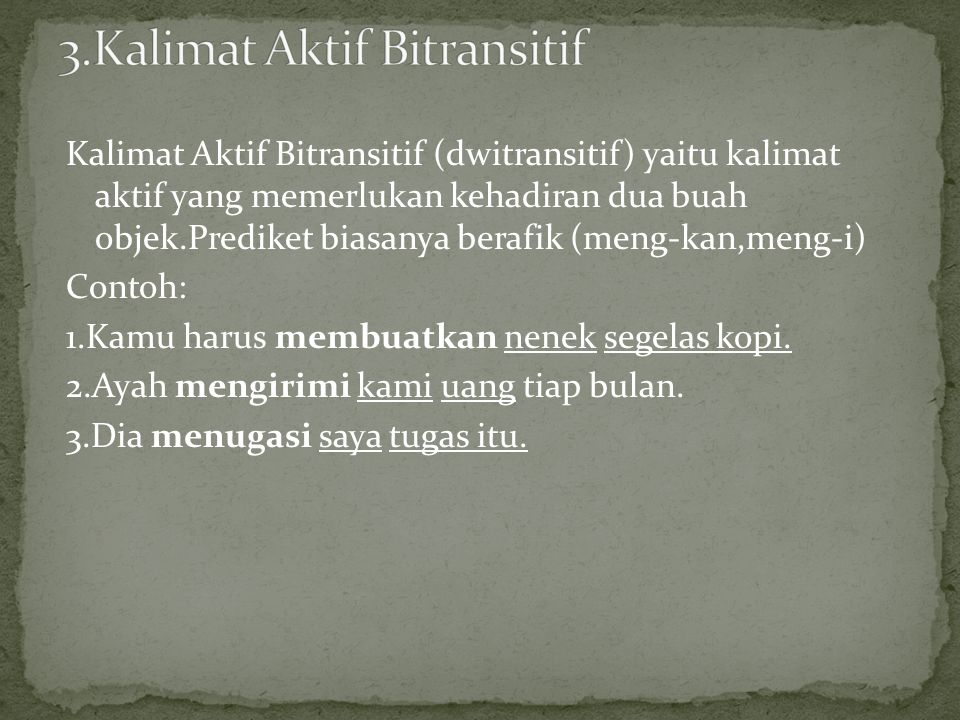 3.Kalimat Aktif Bitransitif