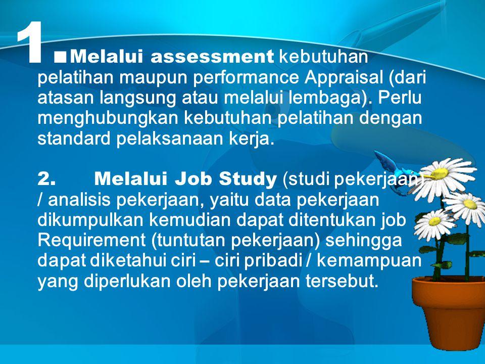 Melalui assessment kebutuhan pelatihan maupun performance Appraisal (dari atasan langsung atau melalui lembaga).
