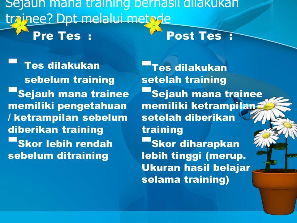Sejauh mana training berhasil dilakukan trainee Dpt melalui metode
