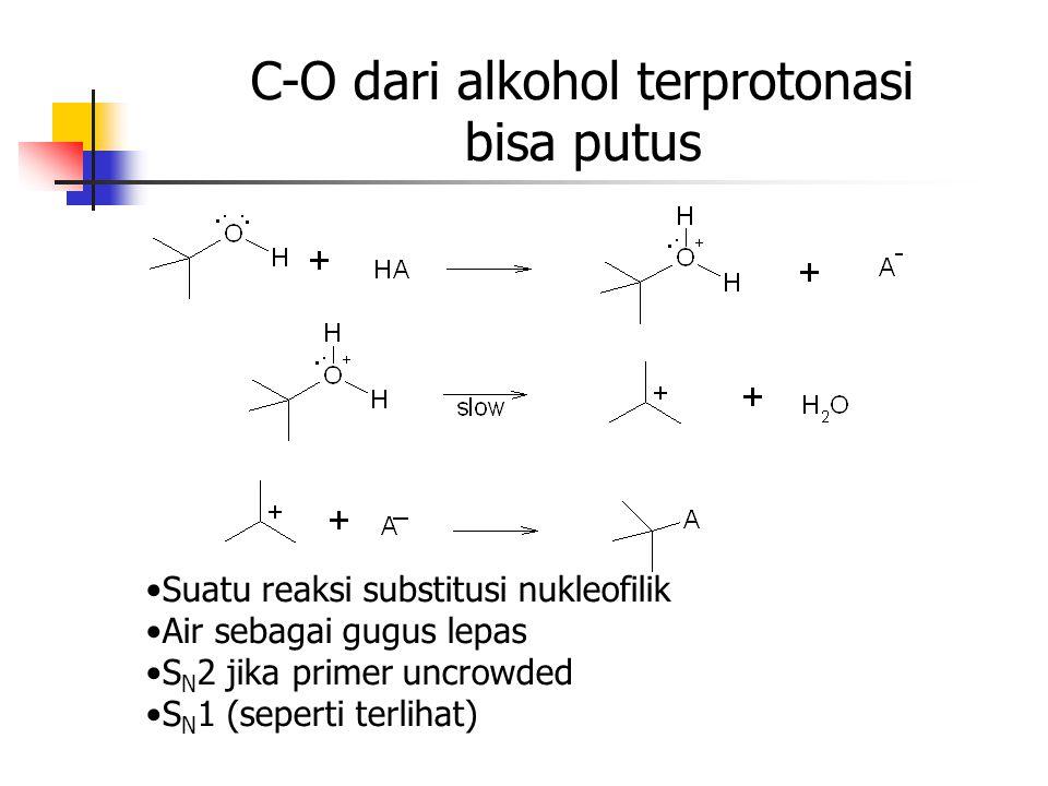 C-O dari alkohol terprotonasi bisa putus