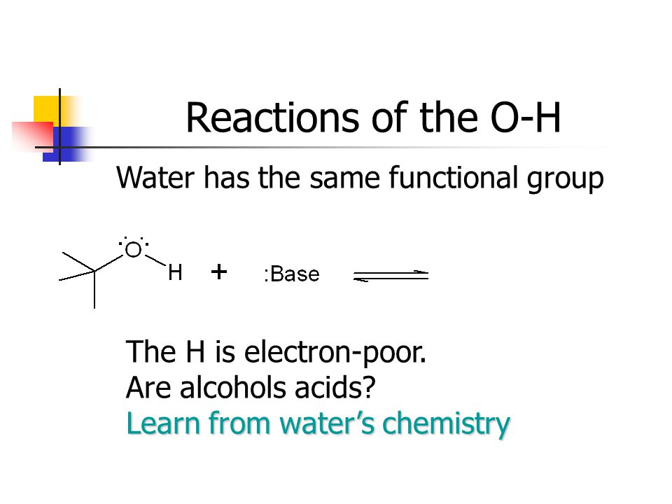Reactions of the O-H Water has the same functional group