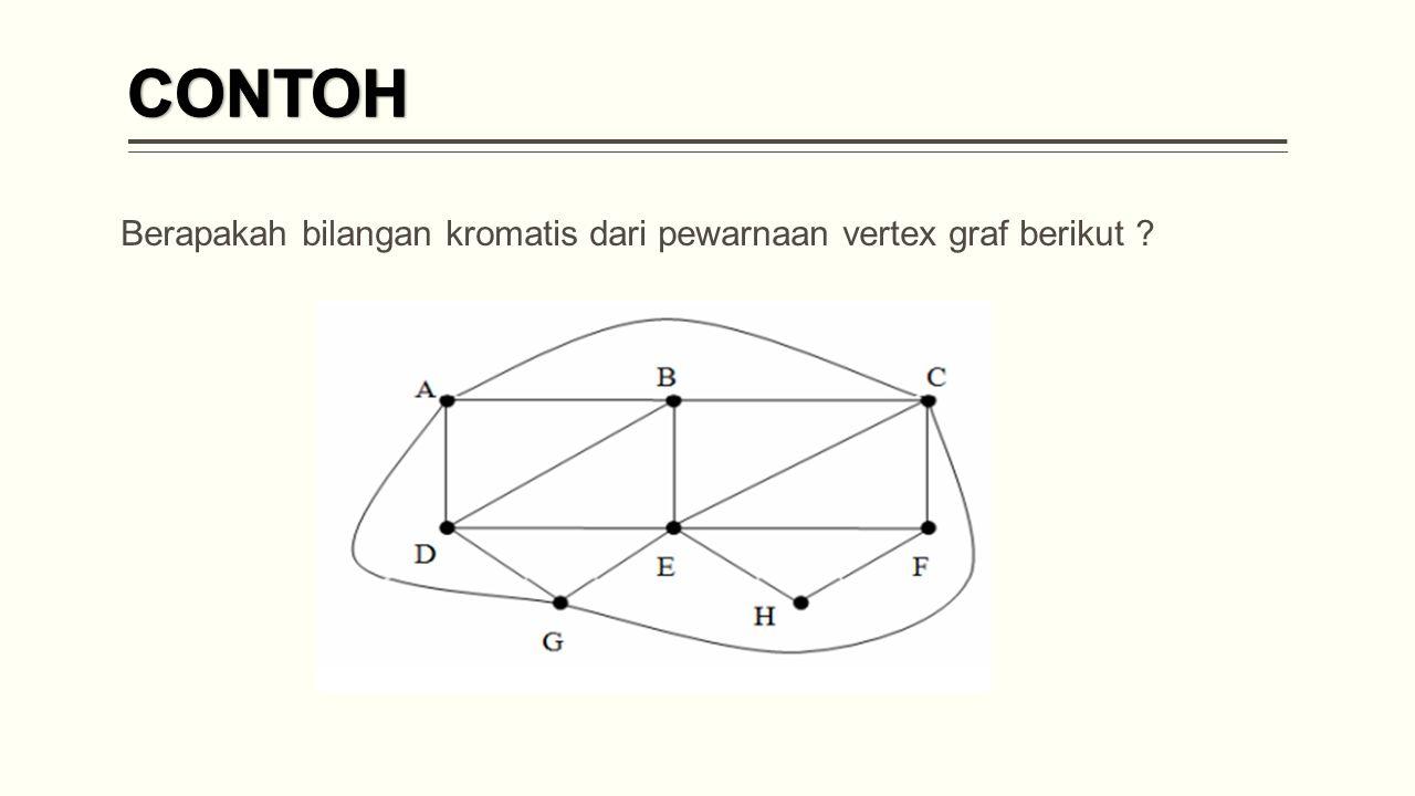 CONTOH Berapakah bilangan kromatis dari pewarnaan vertex graf berikut