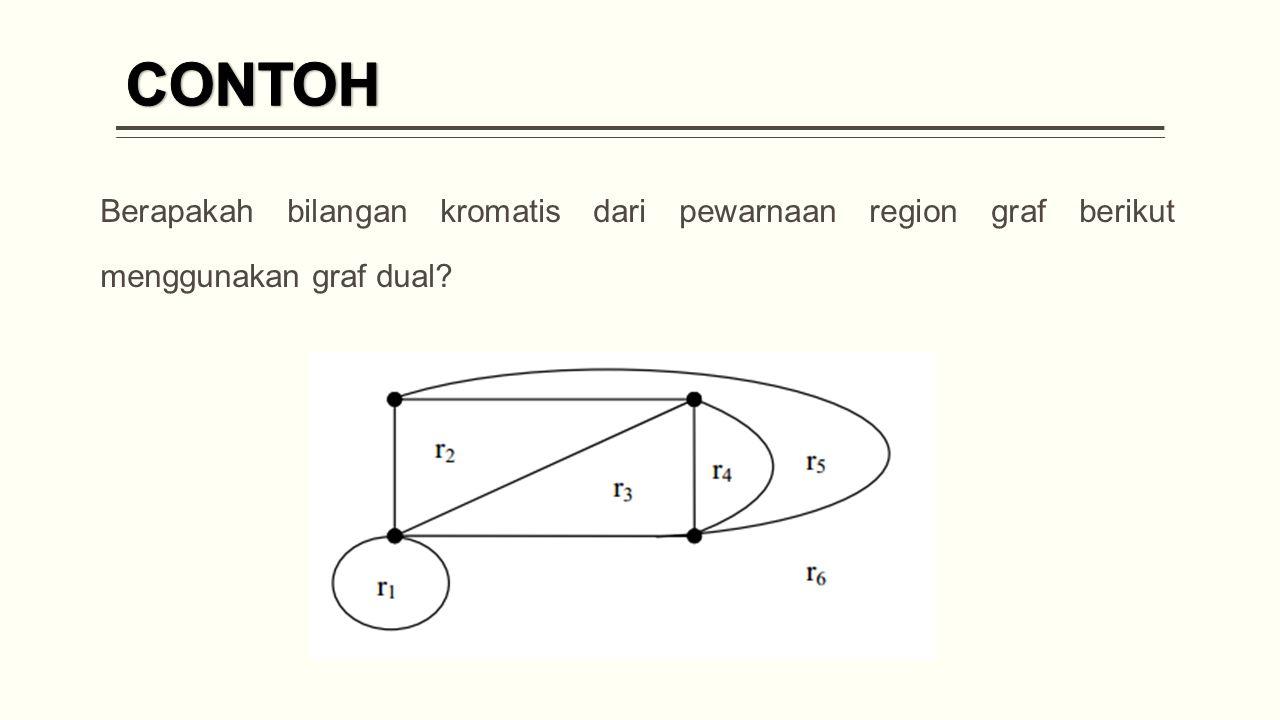 CONTOH Berapakah bilangan kromatis dari pewarnaan region graf berikut menggunakan graf dual