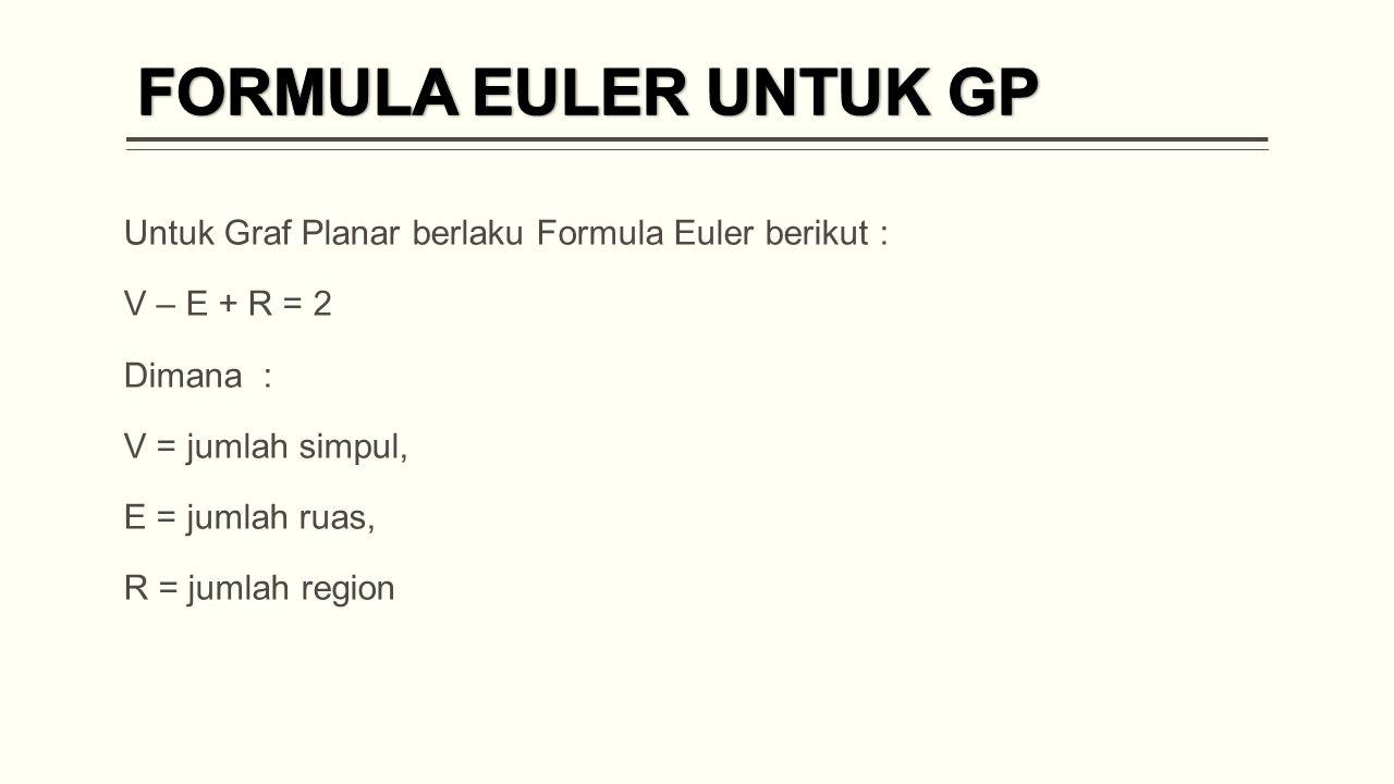 FORMULA EULER UNTUK GP Untuk Graf Planar berlaku Formula Euler berikut : V – E + R = 2. Dimana :