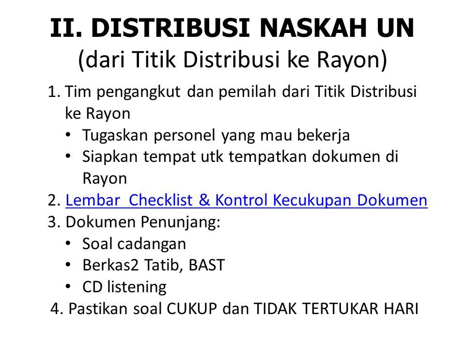 II. DISTRIBUSI NASKAH UN (dari Titik Distribusi ke Rayon)