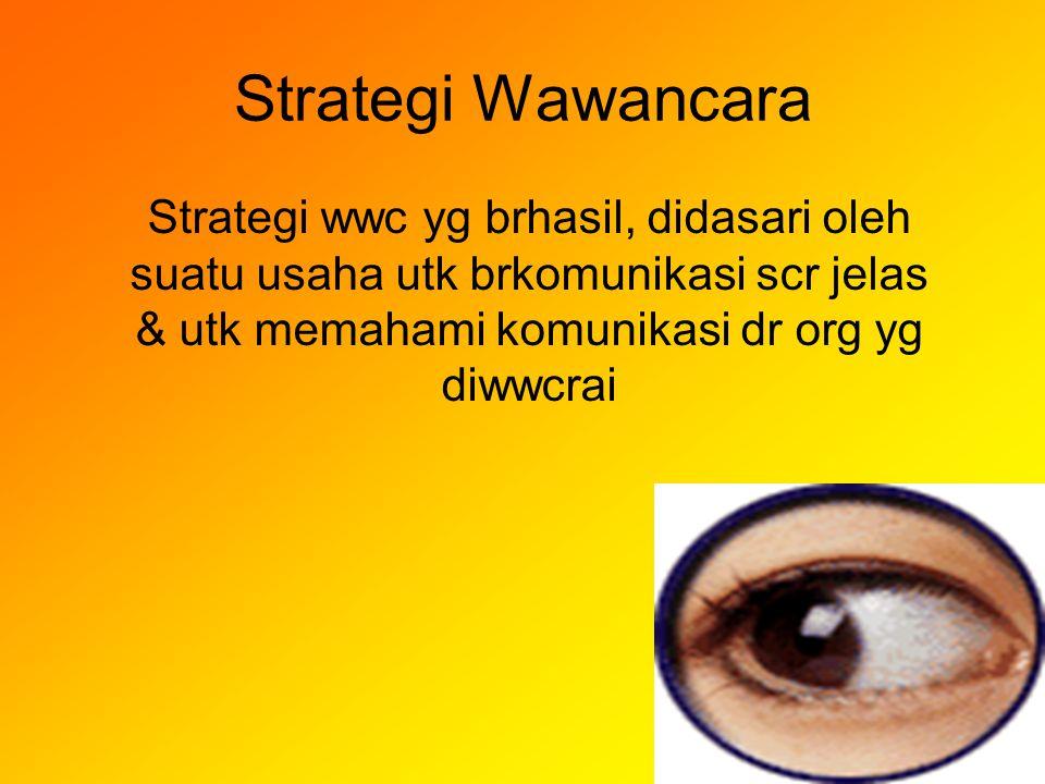 Strategi Wawancara Strategi wwc yg brhasil, didasari oleh suatu usaha utk brkomunikasi scr jelas & utk memahami komunikasi dr org yg diwwcrai.