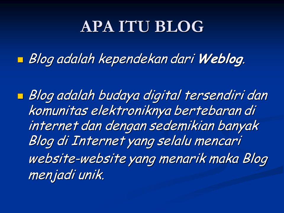 APA ITU BLOG Blog adalah kependekan dari Weblog.