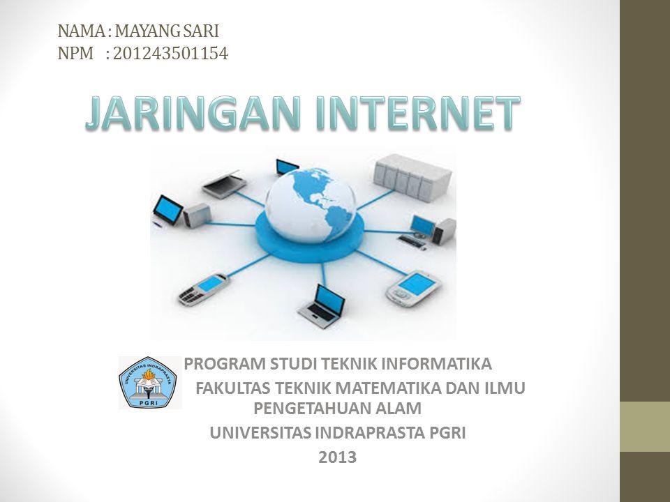 NAMA : MAYANG SARI NPM : 201243501154 JARINGAN INTERNET