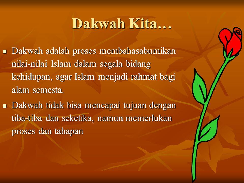 Dakwah Kita… Dakwah adalah proses membahasabumikan nilai-nilai Islam dalam segala bidang kehidupan, agar Islam menjadi rahmat bagi alam semesta.