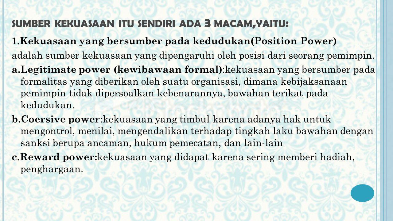 sumber kekuasaan itu sendiri ada 3 macam,yaitu: