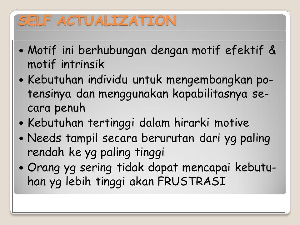 SELF ACTUALIZATION Motif ini berhubungan dengan motif efektif & motif intrinsik.