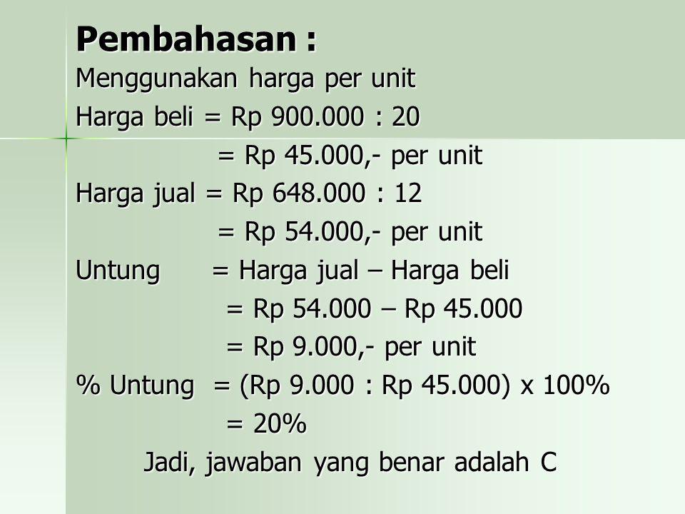 Pembahasan : Menggunakan harga per unit Harga beli = Rp 900.000 : 20
