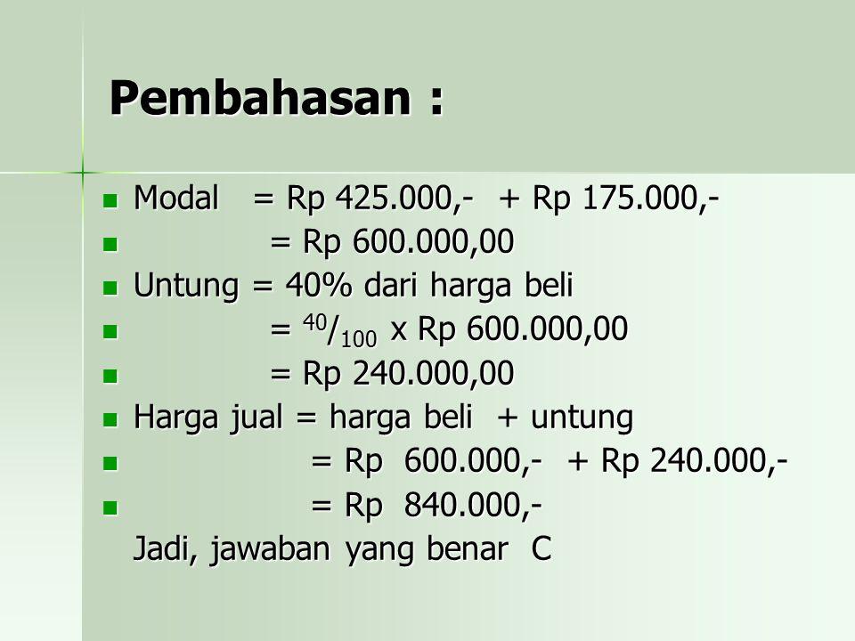 Pembahasan : Modal = Rp 425.000,- + Rp 175.000,- = Rp 600.000,00