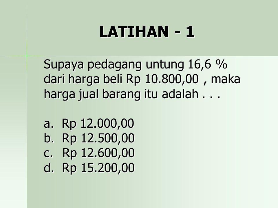 LATIHAN - 1 Supaya pedagang untung 16,6 %