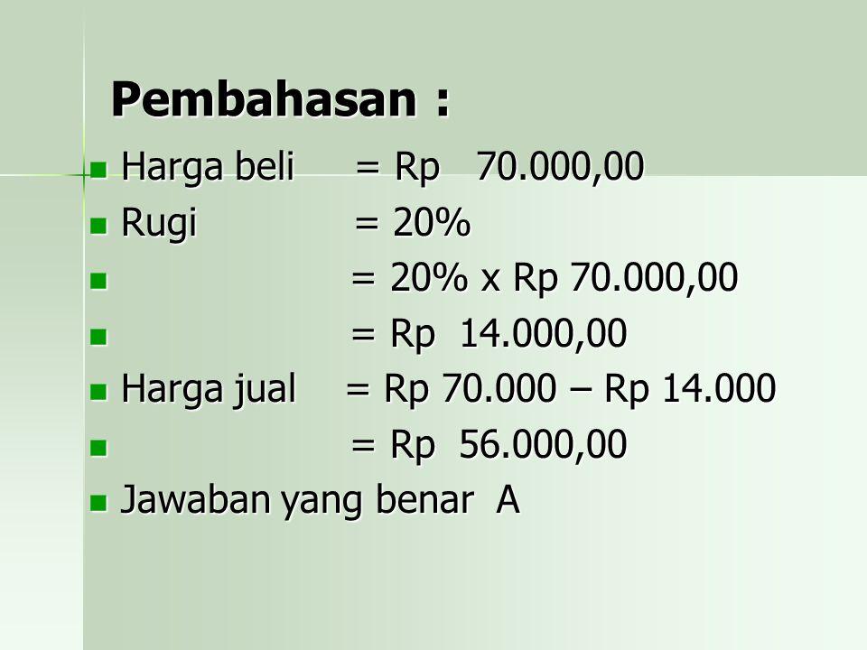 Pembahasan : Harga beli = Rp 70.000,00 Rugi = 20% = 20% x Rp 70.000,00