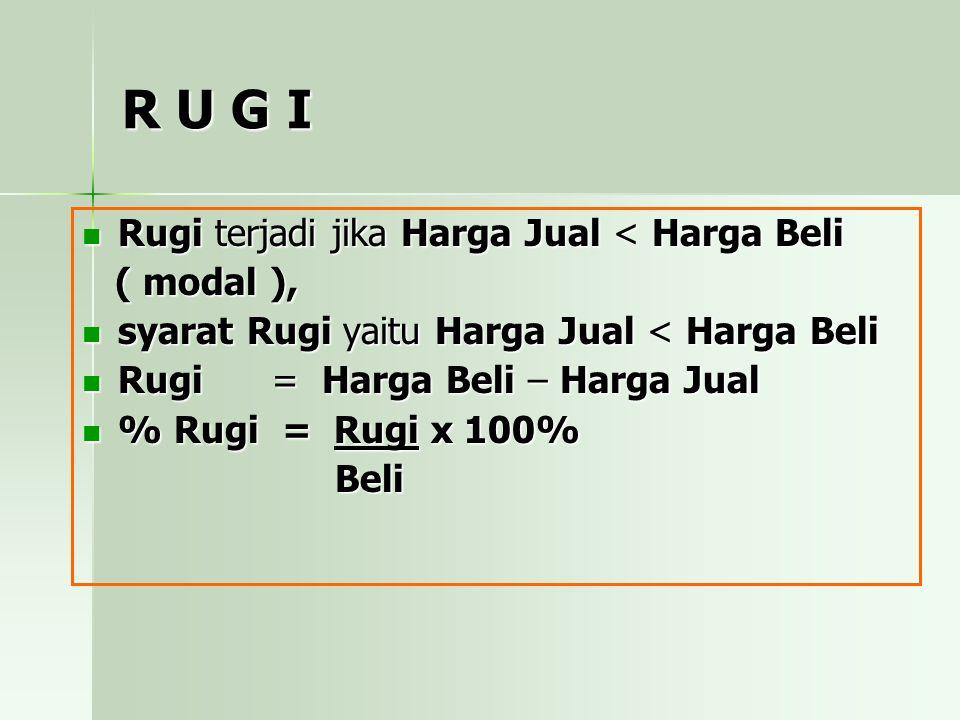 R U G I Rugi terjadi jika Harga Jual < Harga Beli ( modal ),