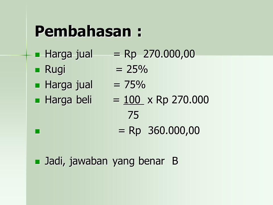 Pembahasan : Harga jual = Rp 270.000,00 Rugi = 25% Harga jual = 75%