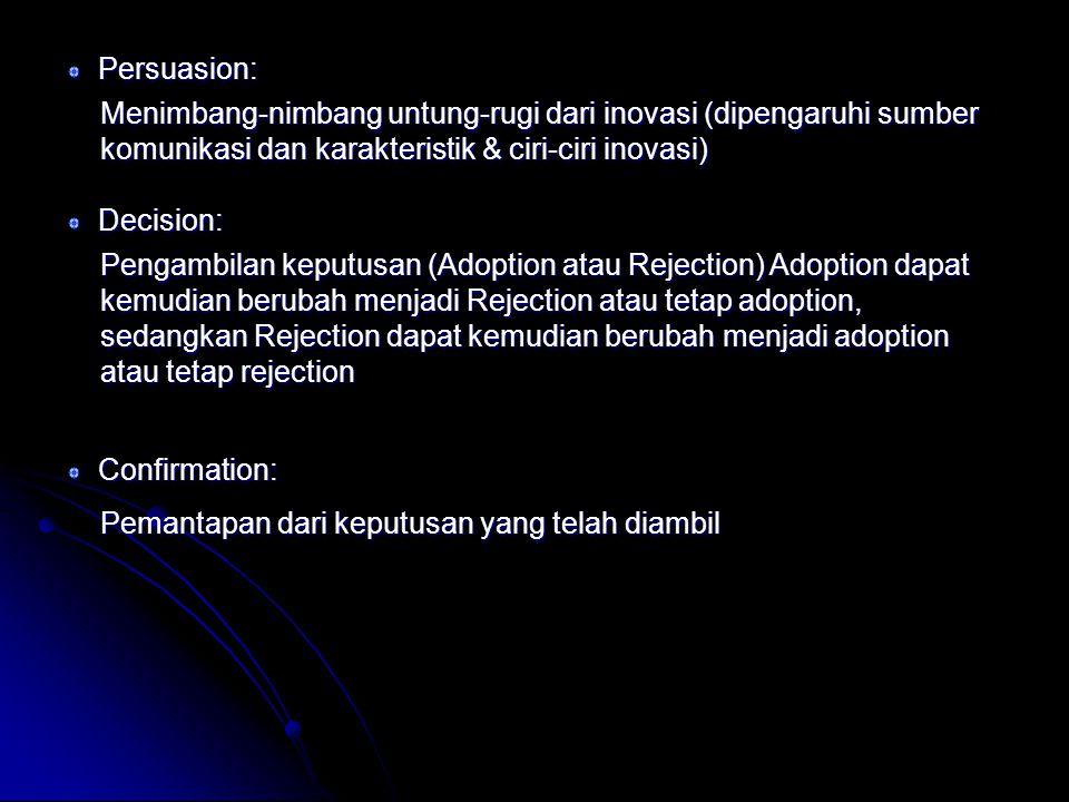 Persuasion: Menimbang-nimbang untung-rugi dari inovasi (dipengaruhi sumber komunikasi dan karakteristik & ciri-ciri inovasi)
