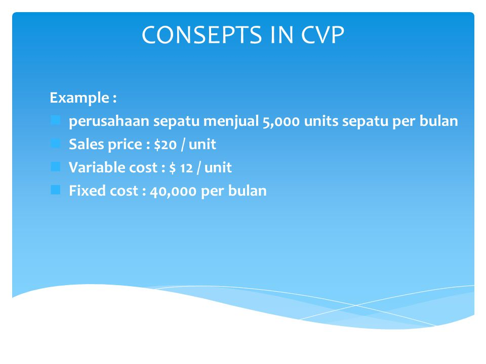 CONSEPTS IN CVP Example :