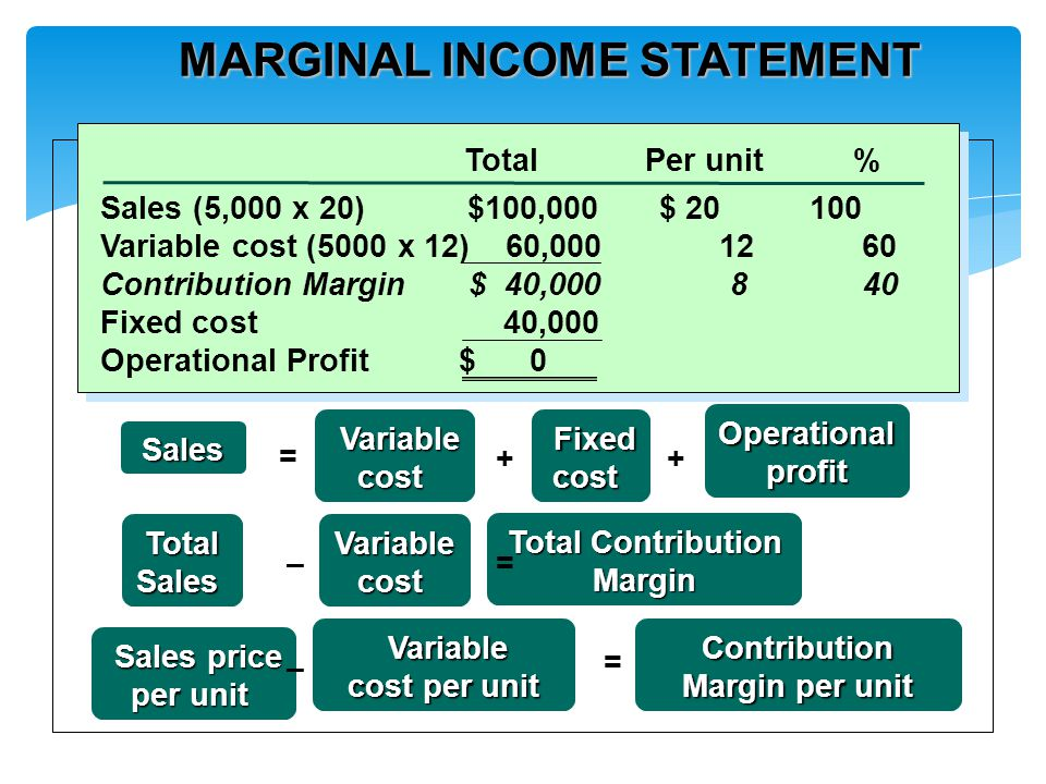 MARGINAL INCOME STATEMENT