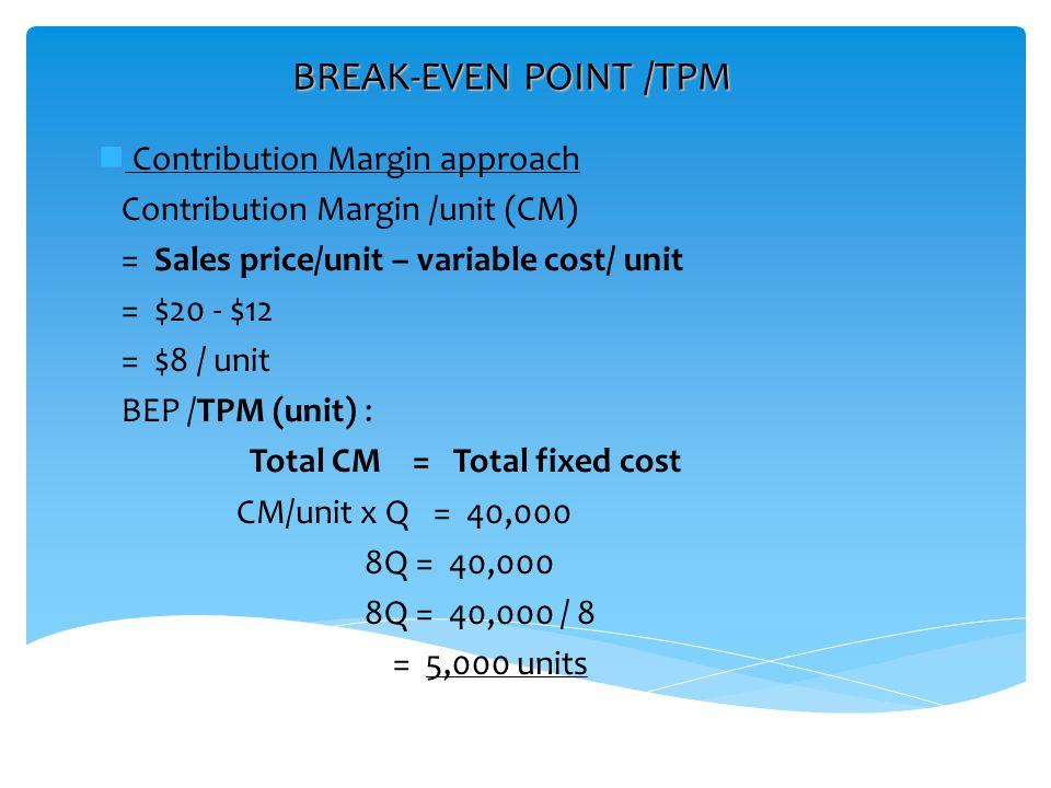 BREAK-EVEN POINT /TPM Contribution Margin approach