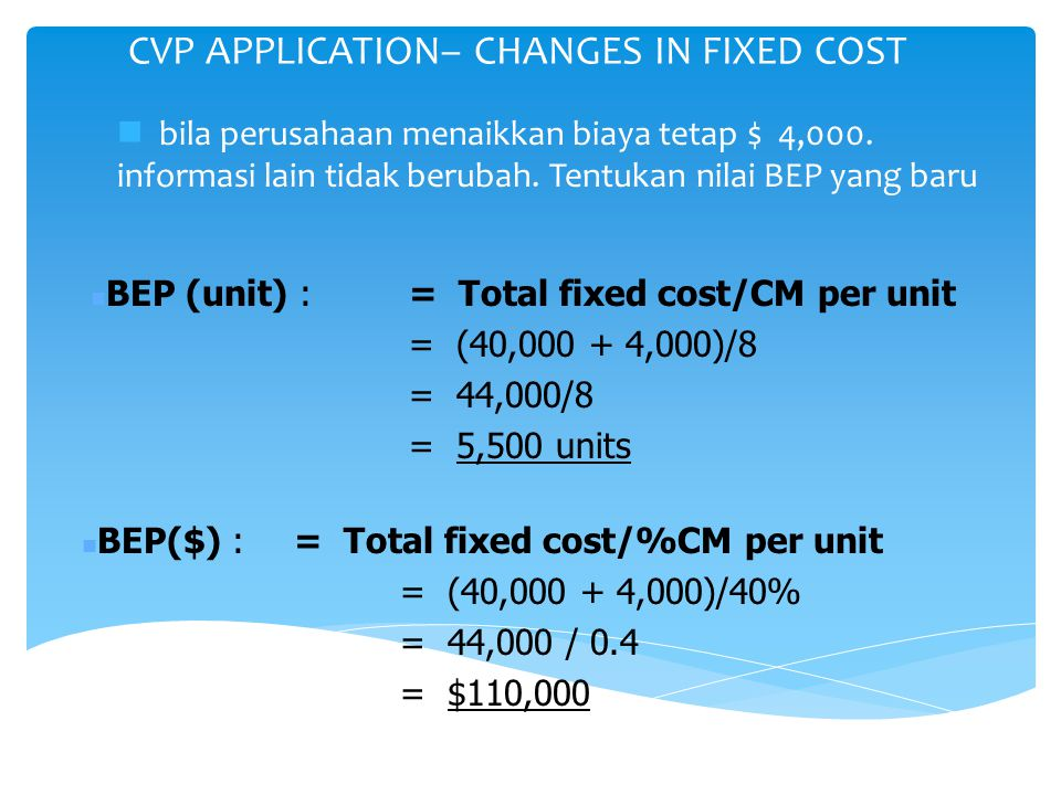 CVP APPLICATION– CHANGES IN FIXED COST