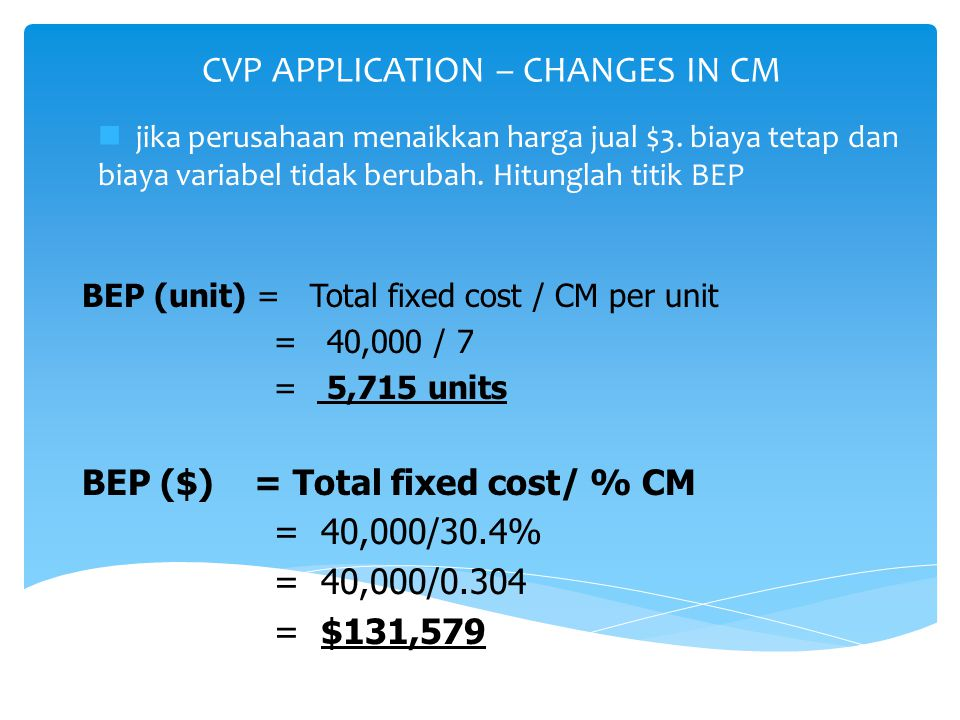 CVP APPLICATION – CHANGES IN CM