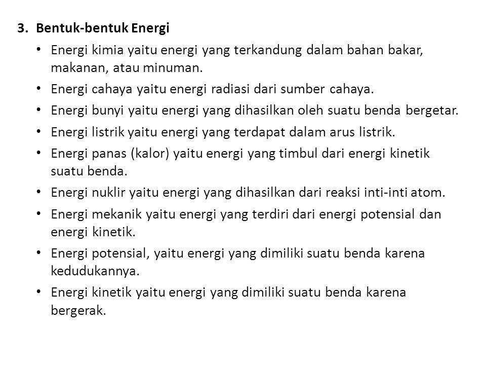 Bentuk-bentuk Energi Energi kimia yaitu energi yang terkandung dalam bahan bakar, makanan, atau minuman.