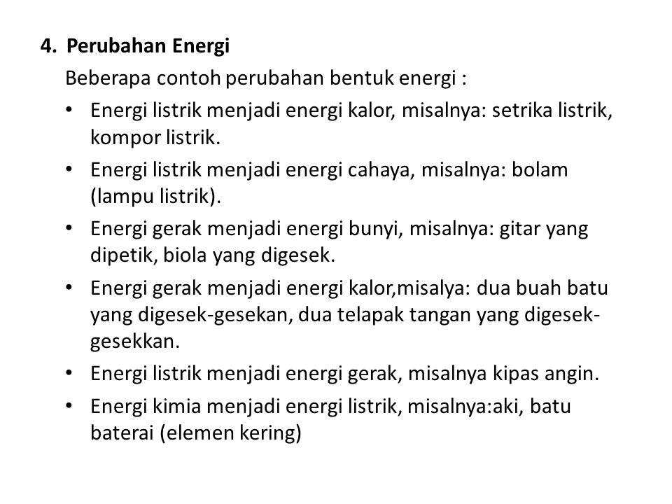 Perubahan Energi Beberapa contoh perubahan bentuk energi : Energi listrik menjadi energi kalor, misalnya: setrika listrik, kompor listrik.