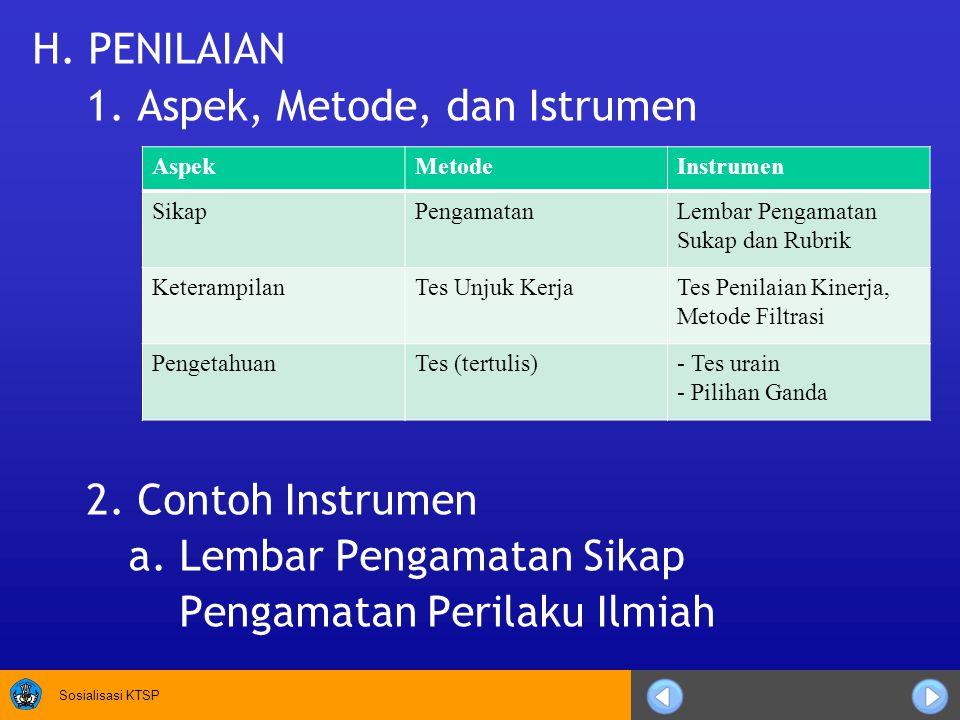 1. Aspek, Metode, dan Istrumen