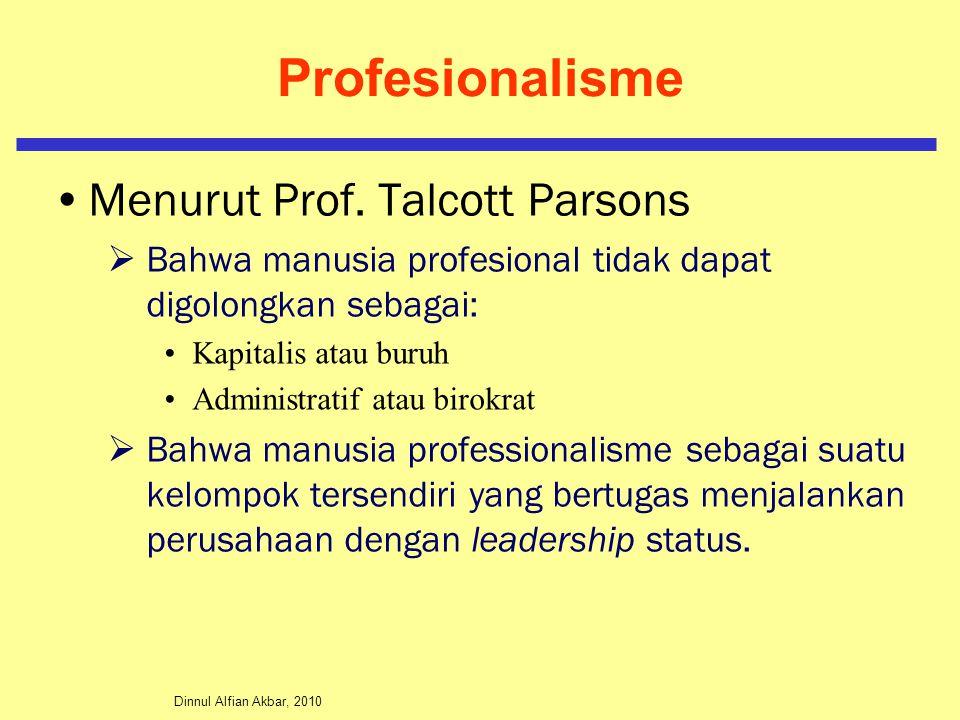Profesionalisme Menurut Prof. Talcott Parsons