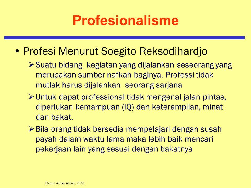 Profesionalisme Profesi Menurut Soegito Reksodihardjo