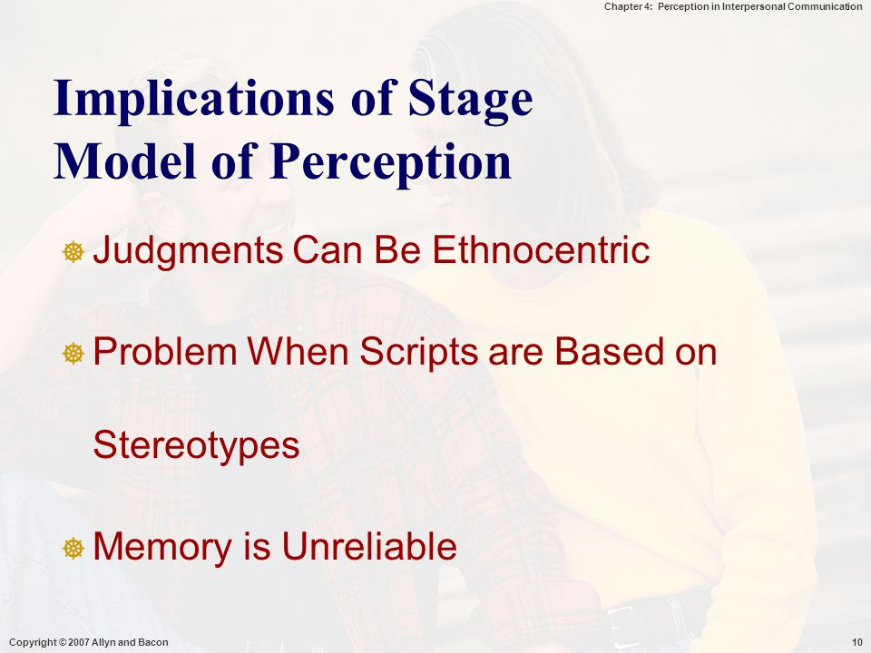 Implications of Stage Model of Perception