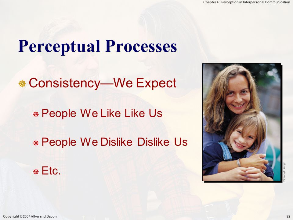 Perceptual Processes Consistency—We Expect People We Like Like Us
