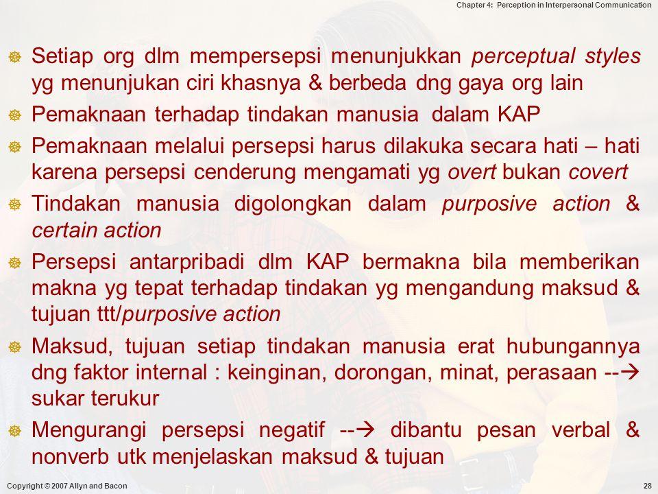 Pemaknaan terhadap tindakan manusia dalam KAP