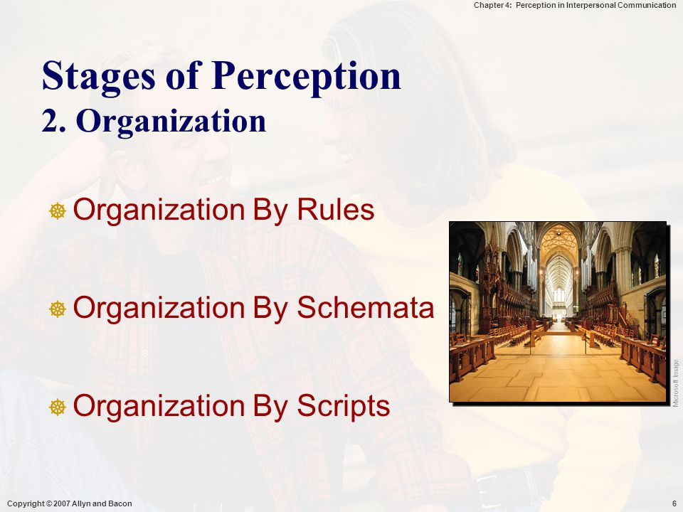 Stages of Perception 2. Organization