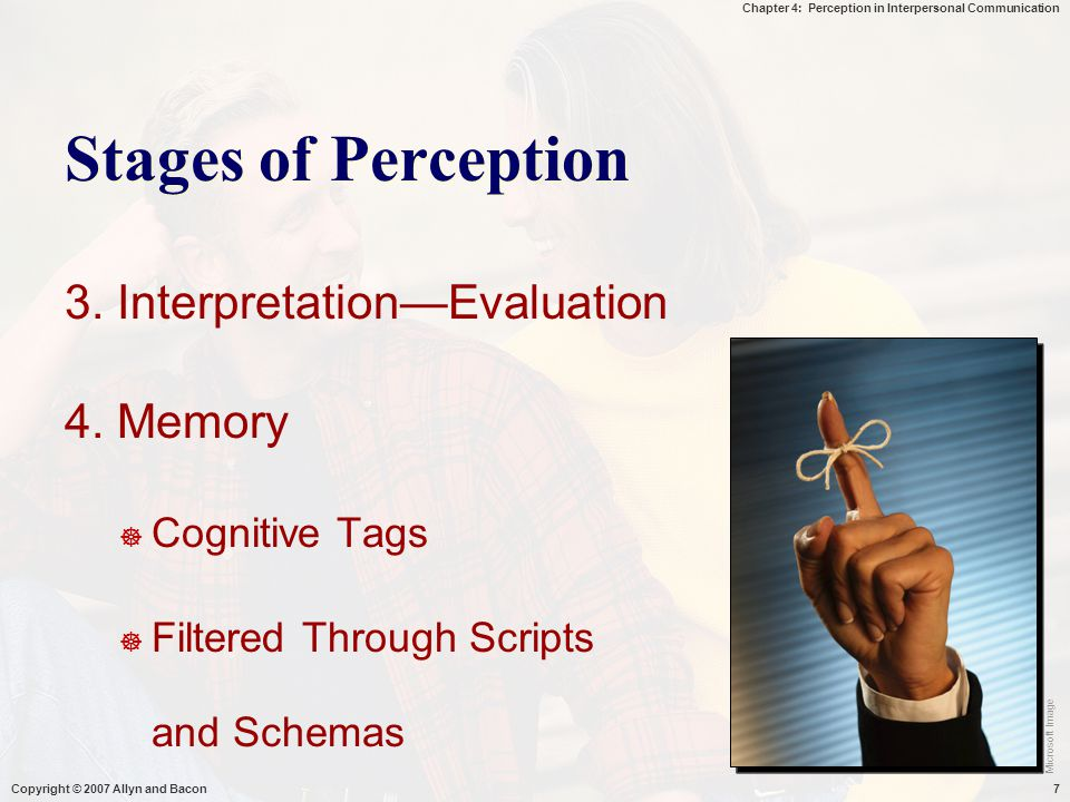 Stages of Perception 3. Interpretation—Evaluation 4. Memory